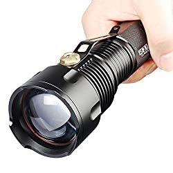 Comunite 1200 Lumen Zoomable Cree XM-L T6 Super Bright Led Flashlight Torch Lamp Adjustable with White TubePowered By 1pcs 26650 Or 3pcs AA Battery Flashlight(Not Included)