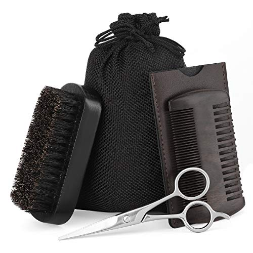 Luxspire Beard Brush & Comb Set for Men, Natural Boar Bristle Beard Brush, Sandalwood Mustache Combs, Trimming Scissors, Beard Grooming Kit for All Size & Beards Style – Black