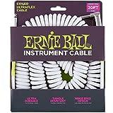 Ernie Ball P06045 30FT Coil Cable Straight/Angle White Jacket w/Bonus RIS Picks (x3) 749699160458