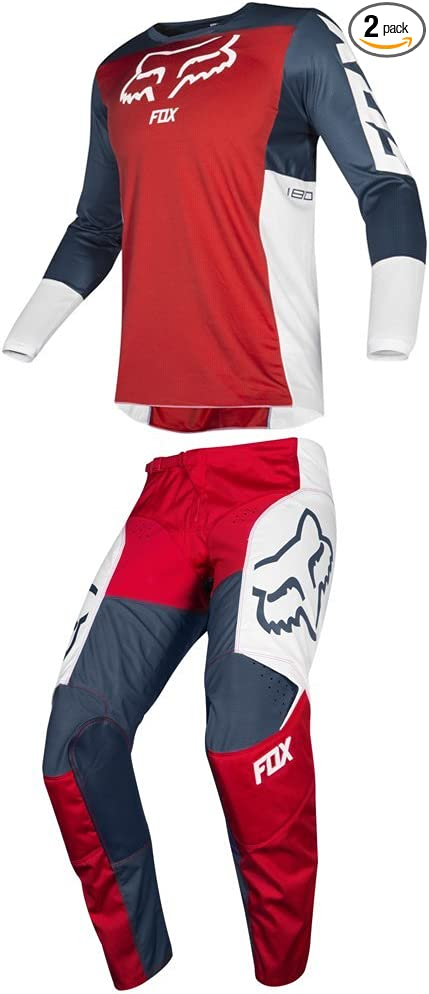 Fox Racing 2019 180 PRZM Jersey and Pants Combo Offroad Gear Set Adult Mens Navy/Red Medium Jersey/Pants 36W