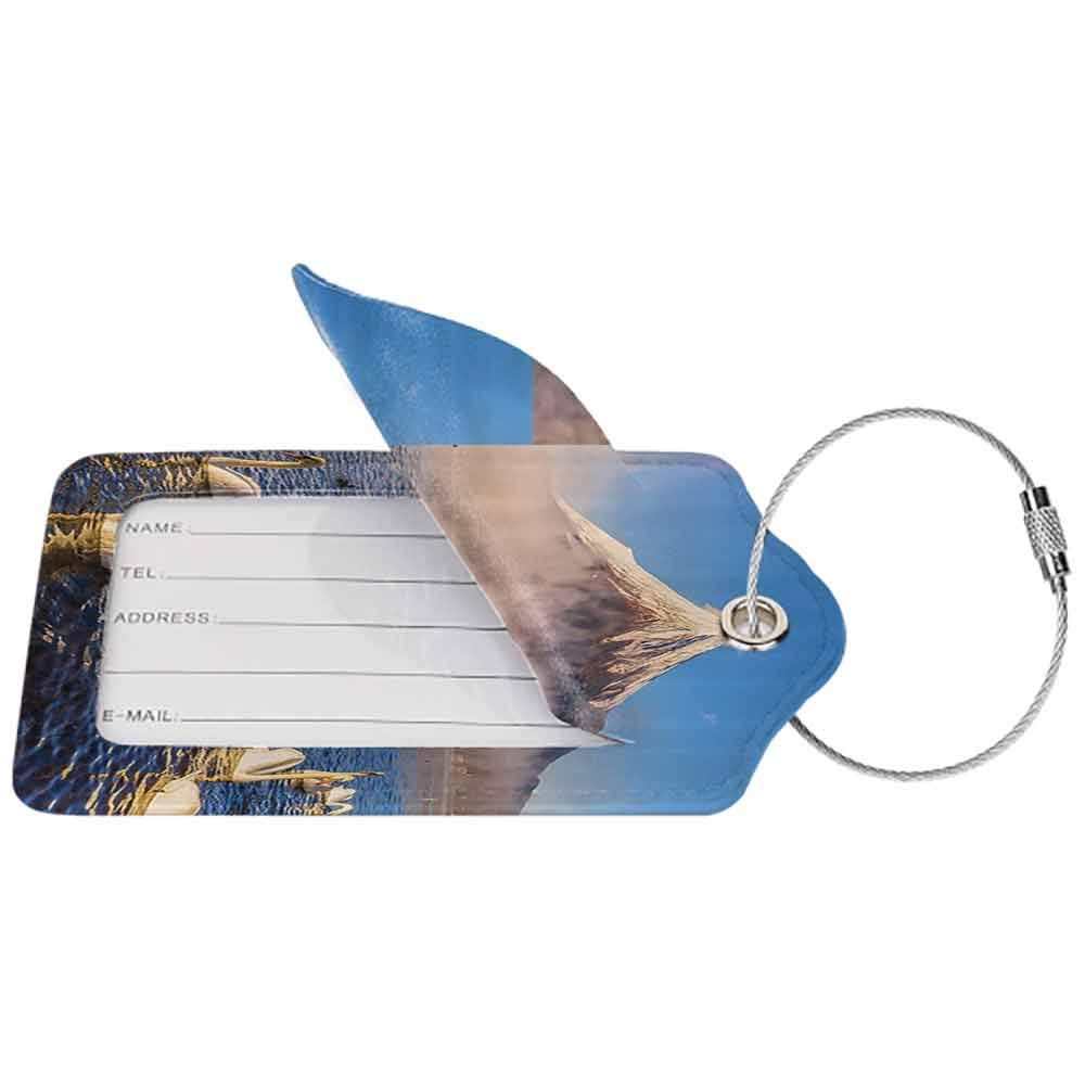 Multicolor luggage tag Cottage Decor Collection Mount Fuji Reflected in Lake Yamanaka at Dawn Japan Several Swans are Resting on Lake View Hanging on the suitcase White W2.7 x L4.6