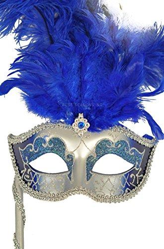 Pure Seasons Colombina Vanity Fair Venetian Mask (Blue/Silver)-Standard