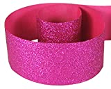 HipGirl Glitter Sparkle Ribbon for Hair Bows, Cheer Bows, Dance, Floral Designs, Gift Wrapping, Sewing-3'', 2x5yd, Shocking Pink (Fuschia)