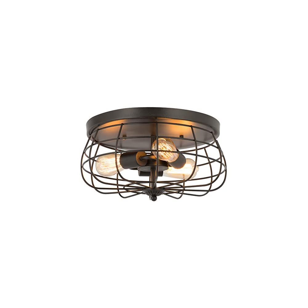 CO-Z 15 Inch Industrial 3-Light Vintage Metal Cage Flush Mount Ceiling Light, Oil Rubbed Bronze Finish, Rustic Ceiling…