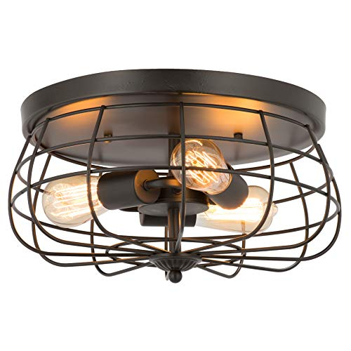 CO-Z 15 Inch Industrial 3-Light Vintage Metal Cage Flush Mount Ceiling Light, Oil Rubbed Bronze Finish, Ceiling Lighting Fixture for Bedroom, Dining Room, Living Room, ETL Listed
