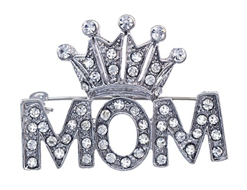 (cocojewelry Crown Tiara Queen MOM Word Brooch Pin (Clear))