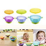 New Cute 3Pcs Stay Put Suction Bowl Baby Bowls with Seal-Easy Lids Infant Food Soft BowlSpill Proof BPA Free Perfect for Babies And Toddlers