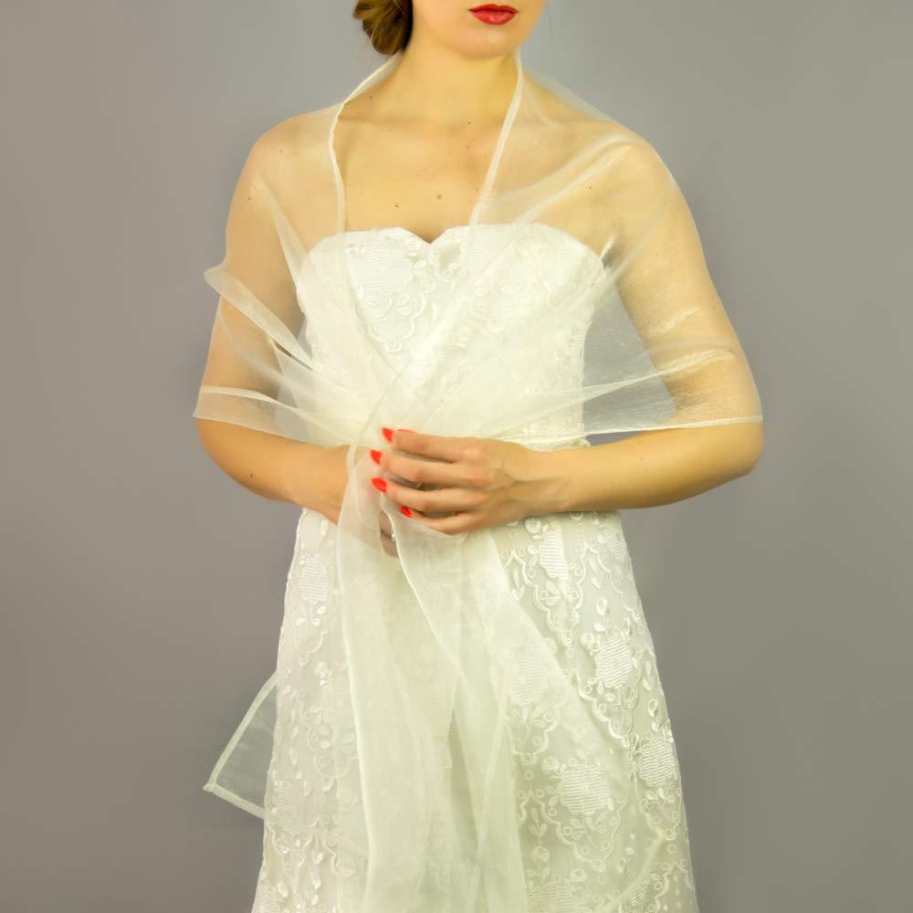 Chal organza color marfil blanco oscuro novia boda para vestido de novia: Amazon.es: Handmade