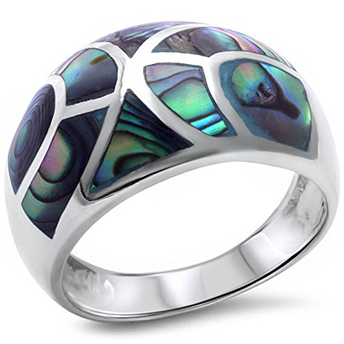Diamond Shell Ring - Abalone Shell .925 Sterling Silver Ring Size 6
