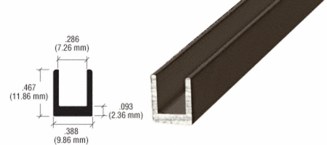 CRL Oil Rubbed Bronze 1/4'' Single Aluminum Channel - 12 Ft Long