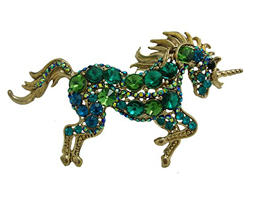 Nouveau Pin Art Brooch (TTjewelry Unique Elegant Green Rhinestone Crystal Unicorn Horse Brooch Pin Art Nouveau Pendant B10617208)