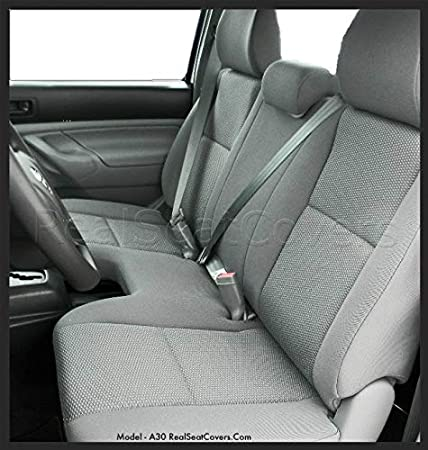 Toyota Tacoma Regular Cab Solid Bench Seat Cover with 3 Adjustable Headrest Custom Made Exact Fit (Charcoal) RealSeatCovers