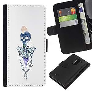 JackGot ( Brains esqueleto Blanco Azul metal ) LG G3 la tarjeta de Crédito Slots PU Funda de cuero Monedero caso cubierta de piel