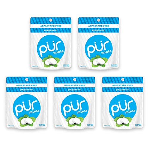 Peppermint Sugar Free Sugar - The PUR Company  | Sugar-Free + Aspartame-Free Mints  | 100% Xylitol  | Peppermint | Vegan + non GMO  | 20 Mints per Bag (Pack of 5, 100 Mints)
