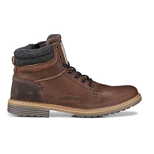 Cox Herren Winter Schnürschuh - Winterstiefel - Boots - Glattleder - Schnür Stiefel - Robuste Profilsohle - Winter Boots - Schnür Boots braun-dunkel