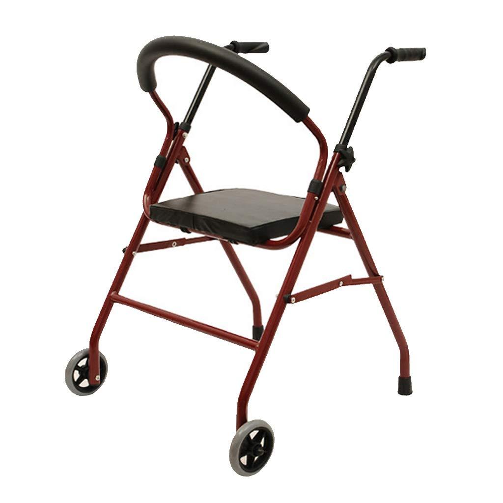 移動歩行支援 2つの車輪付き歩行者用シート - 軽量折りたたみ式と高さ調節可能な大人の旅行移動補助の高齢者用ウォーキングフレーム、 赤 リハビリ補助   B07QLSC1S1