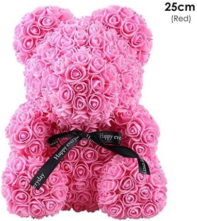 ローズベア ぬいぐるみ ブーケ テディベア 人工 造花 かわいい 装飾 手作り ローズ人形 ファッション ギフト 人形 写真の小道具 バレンタイン 結婚式 誕生日 パーティー クリスマス プレゼント デコレーション (Color : Rose Red, Size : 25cm)