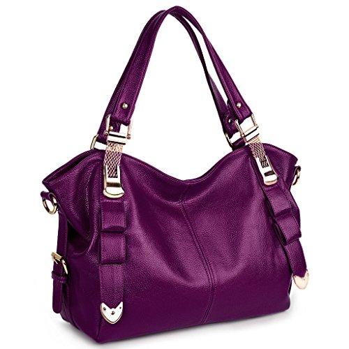 UTO Women Tote Bag PU Leather Shoulder Bags Fashion Handbags Satchel Purple (Elegant Purse)