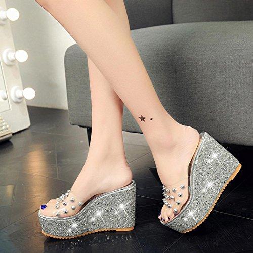 Sandali Con Zeppa Donna Inkach - Sandali Con Zeppa Moda Estate Sandali Con Tacco Grosso Pumps Shoes Silver