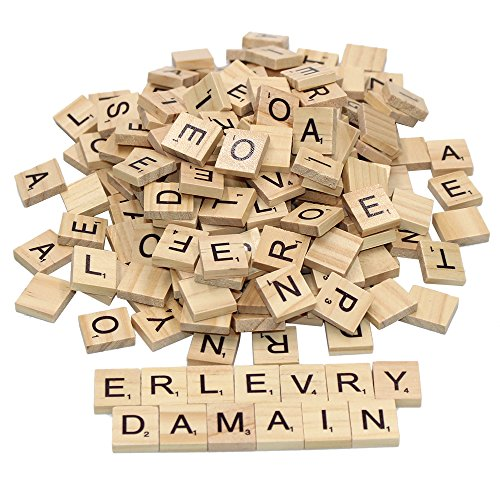 (400pcs Wood Scrabble Letter Tiles,Wood Pieces-4 Complete Sets-Great for Crafts,Pendants,Spelling by Erlvery DaMain)
