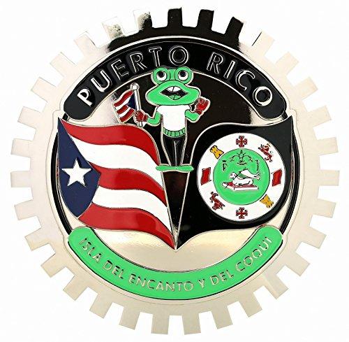 CAR GRILLE CHROME EMBLEM BADGE PUERTO RICO FLAG,FROG&SHIELD