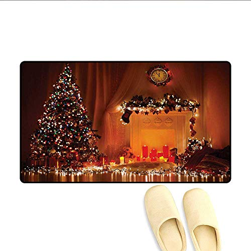 Door-mat,Romantic Xmas Room with Candles Lights Presents Toys Fairy Festive Magic Picture,Bathroom Mat for Tub Non Slip,Orange,Size:32