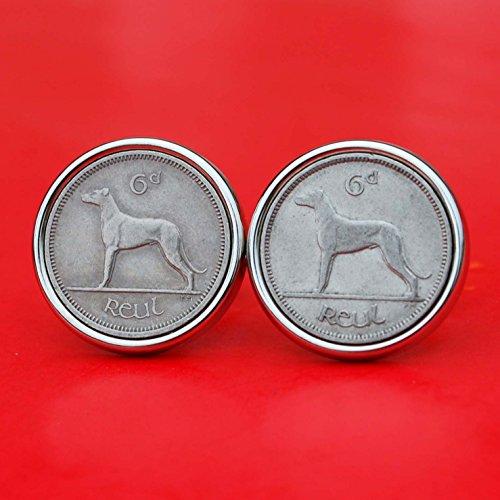 Dog Plated Cufflinks - 1928 ~ 1969 Irish Ireland 6 Pence Wolfhound Greyhound Dog Coin Silver Plated Cufflinks NEW