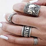 by lucky 4PCS/Set Punk Vintage Ring Women Retro Finger Knuckle Rings Band Boho Style