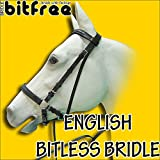 COB SIZE HILSAON BITFREE LEATHER ENGLISH BITLESS BRIDLE HORSE BLACK W/ REINS