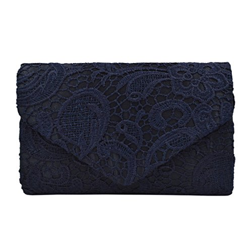 Lace Paisley Floral Fabric Satin Envelope Flap Clutch Evening Bag, Navy by TrendsBlue