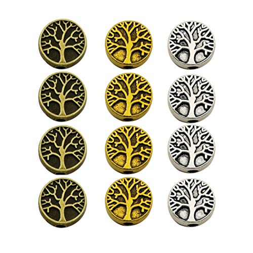 75pcs Antique Silver Bronze Gold Mixed Tree of Life Loose Spacer Bead,Craft Supplies Charms Pendants for Jewelry Findings Making Accessory for DIY Bracelet Necklace M229 (Tree Antique)