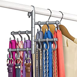 Lynk Hanging Pivoting Scarf Holder - Jewelry, Belt, Accessory Hanger - Hook Rack Closet Organizer