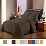 NC Home Fashions Cameo embroidered style solid color quilt set, King, Chocolate Chip