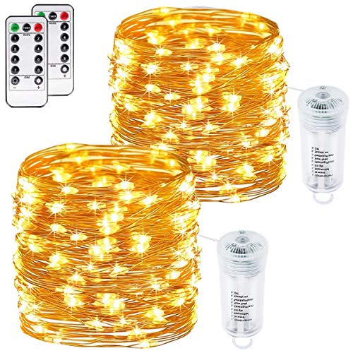 buways 2 Pack Battery Operated Fairy String Lights, Waterproof 8 Modes 75 LED 24.6ft Copper Wire Firefly Lights Remote Control Christmas Decor Christmas Lights Warm White
