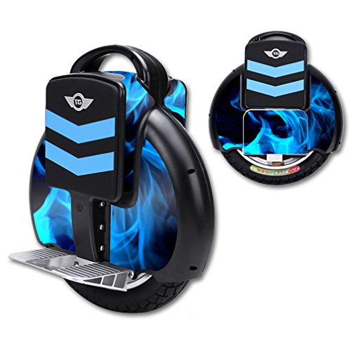 MightySkins Protective Vinyl Skin Decal for TG-F3 Self Balancing one wheel electric unicycle scooter wrap cover sticker Blue Flames