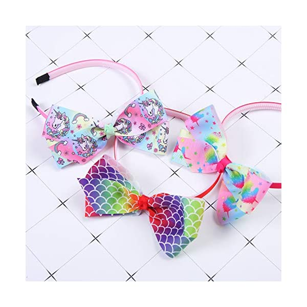 Elcoho 12 Styles Unicorn Bow Headband Unicorn Theme Hair Bows Teeth Comb Hair Hoops Hair Accessories for Girls, 12 Pieces 8