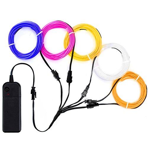 Zitrades EL Wire Neon Lights Kit with Portable AA Battery Inverter for Halloween Christmas Party Decoration (5 by 1, Blue/White/Purple/Yellow/Orange)