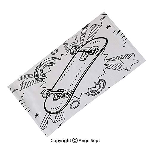 (AngelScarf Seamless Bandanas Face Mask Headband Sports,Tropical Carribean Sea Shore Sand Beach Blue Calm Peaceful Sea Decorative,Multifunctional Scarf Headwrap Neck Warmer)