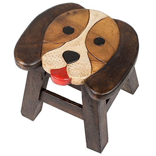 (Puppy Dog Design Hand Carved Acacia Hardwood Decorative Short Stool)