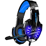 BENGOO Gaming Headset for PS4, PC, Xbox One Controller, Stereo Surround Sound Over Ear Headphones with USB 2.0 Extension Cable, Mic, LED Light, Soft Memory Earmuffs for Mac