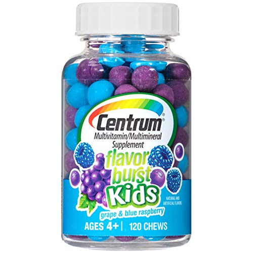 - Centrum Kids Flavor Burst (120 Count, Grape and Blue Raspberry Flavor) Multivitamin / Multimineral Supplement Chews, Vitamin A, Vitamin C, Vitamin D