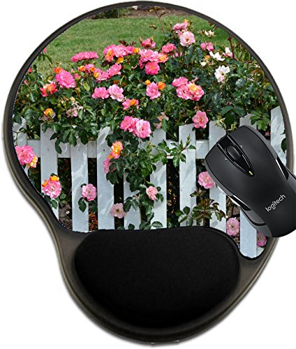 Decorated Picket Fence (MSD Natural Rubber Mousepad wrist protected Mouse Pads/Mat with wrist support design: 30120953 Beautiful pink roses growing on white picket fence)