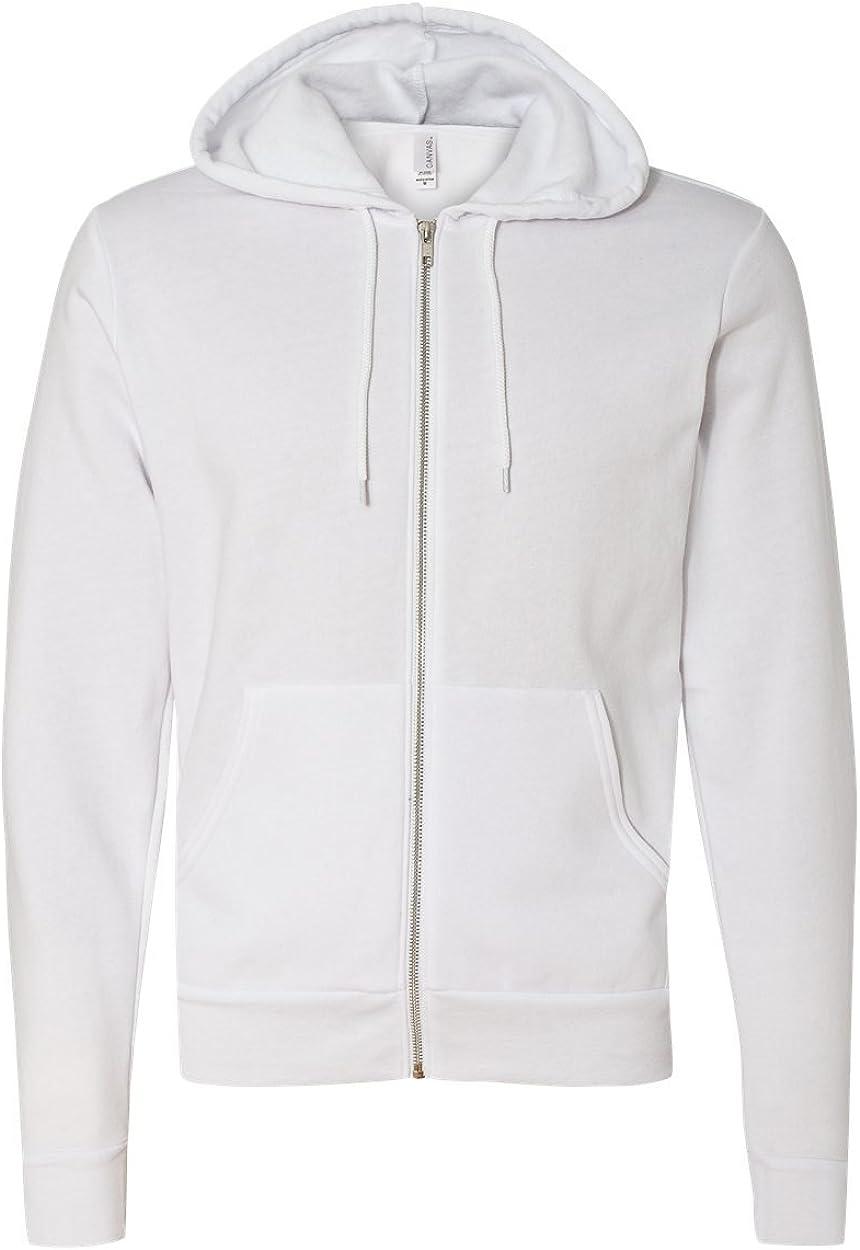 White44; Extra Large Bella 3739 Unisex Poly-Cotton Fleece Full-Zip Hoodie