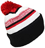 Best Winter Hats Quality Striped Variegated Cuffed Beanie W/Pom (L/XL) - Black/Red/White
