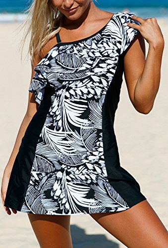 ZKESS Women One Ruffle Shoulder Monochrome Jungle Tankini Swimsuits with Bottoms