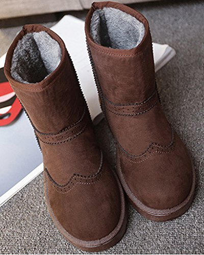 Minetom Women Autumn Winter Warm Boots Fashion New Ankle Boots Flat Heel Snow Boots Non Slip Cotton Shoes Coffee 84nEt3v