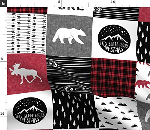 Spoonflower red Cheater Quilt Fabric - Baby Boy Lumberjack Camping Wholecloth Patchwork Woodland Bear Baby Boy by Littlearrowdesign Printed on Fleece Fabric by The Yard