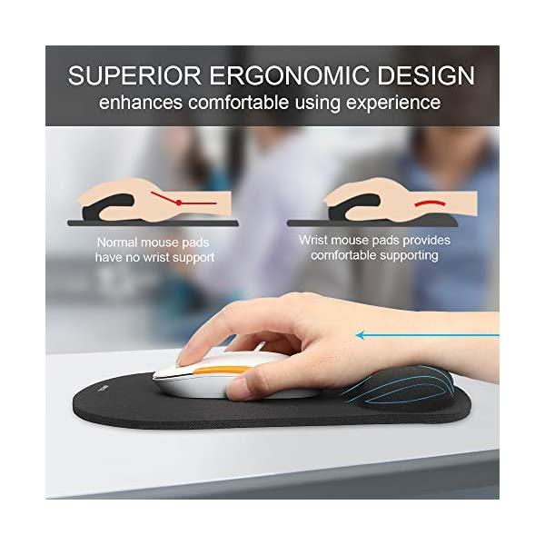 TeckNet Ergonomic Gaming Office Mouse Pad Mat Mousepad with Rest Wrist Support - Non-Slip Rubber Base - Special-Textured…