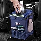 njnj Waterproof Car Trash Can Garbage Bin, Super Large Size Car Organizer with Lid and Storage Pockets,Leak Proof Vehicle Trash Bag Hanging,Blue
