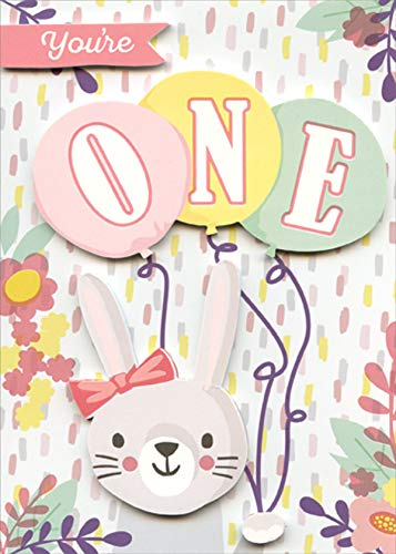 Paper House Bunny and Balloons Cute 3D Tip On Age 1 / 1st Birthday Congratulations Card ()